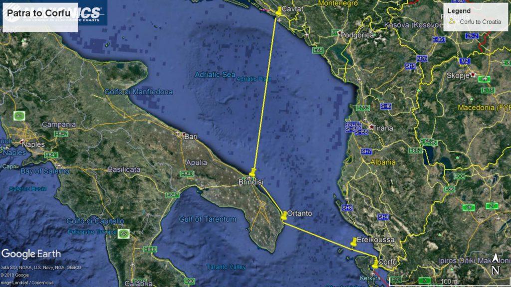 Sail Route from Corfu to Croatia